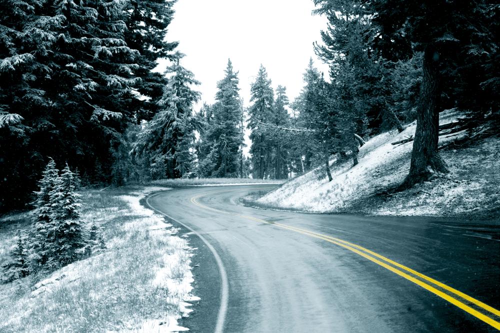 Mammmoth CA Road winter