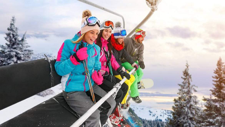 Cheerful Friends on Ski Lifts