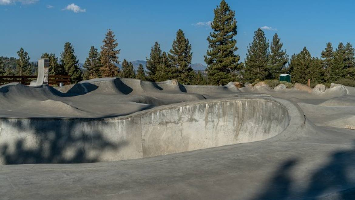 Checking Out the Volcom Brothers Skatepark in Mammoth in Mammoth Lakes, CA