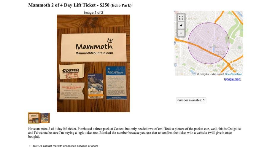 Craigslist lift tickets