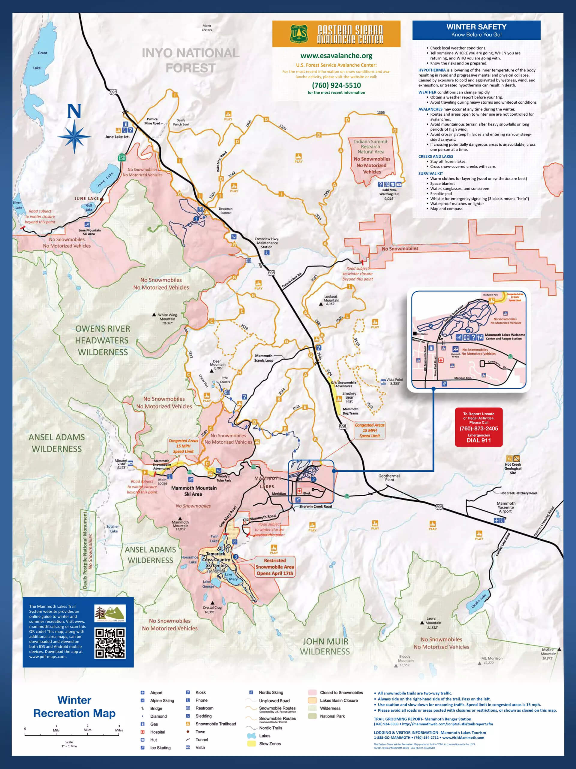 Mammoth Lakes Snowmobile Map
