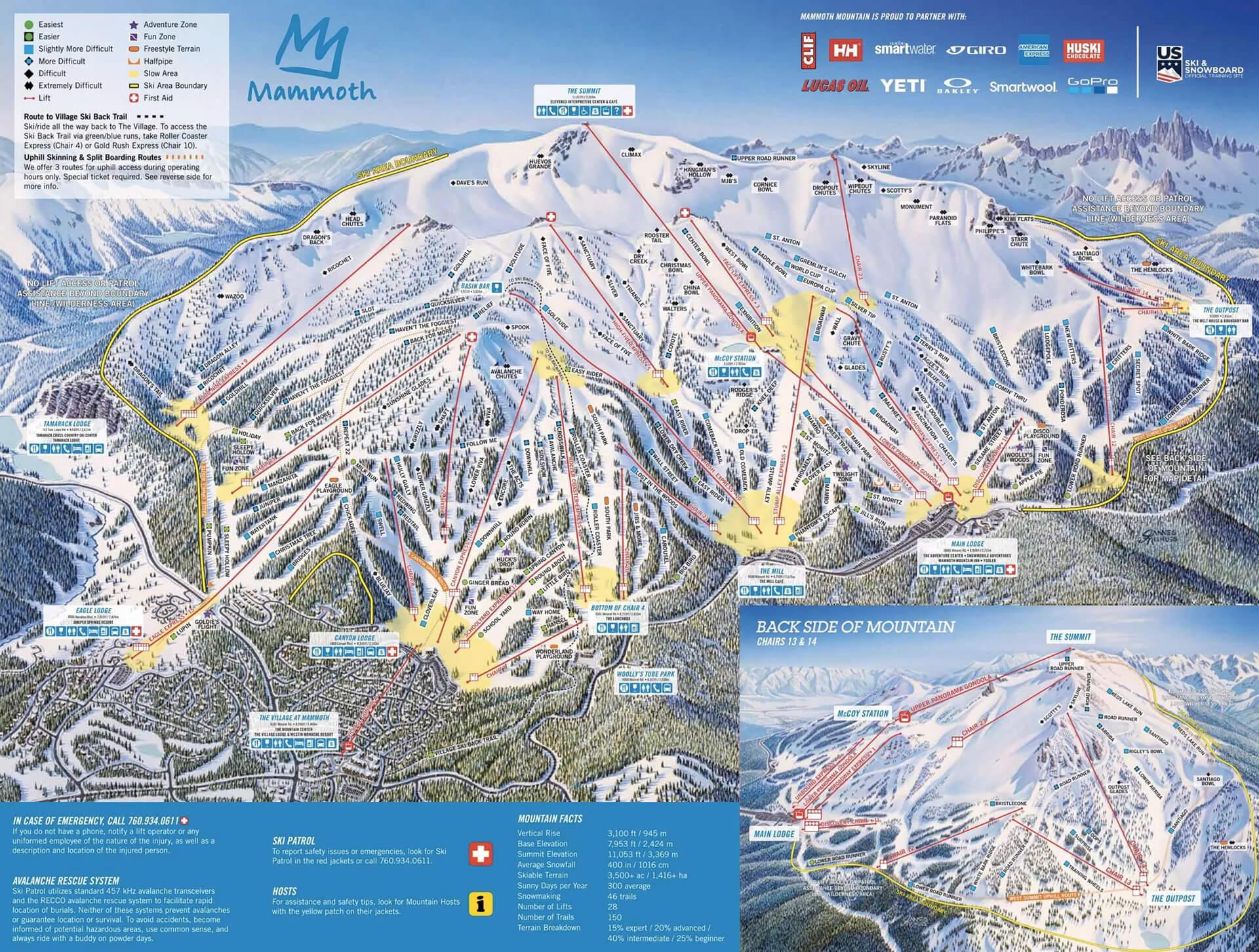 Mammoth Mountain Winter Trail Map